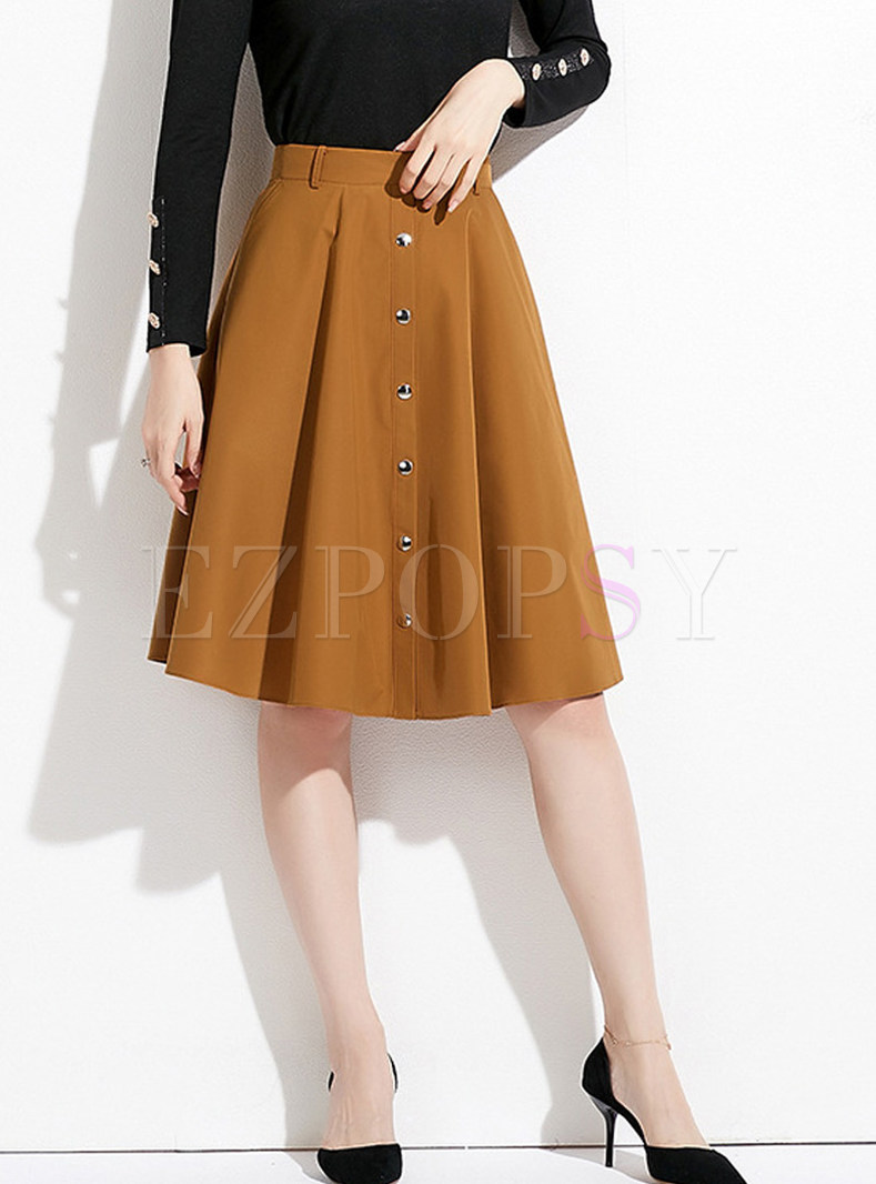 High Waist Single-breasted Big Hem A Line Skirt