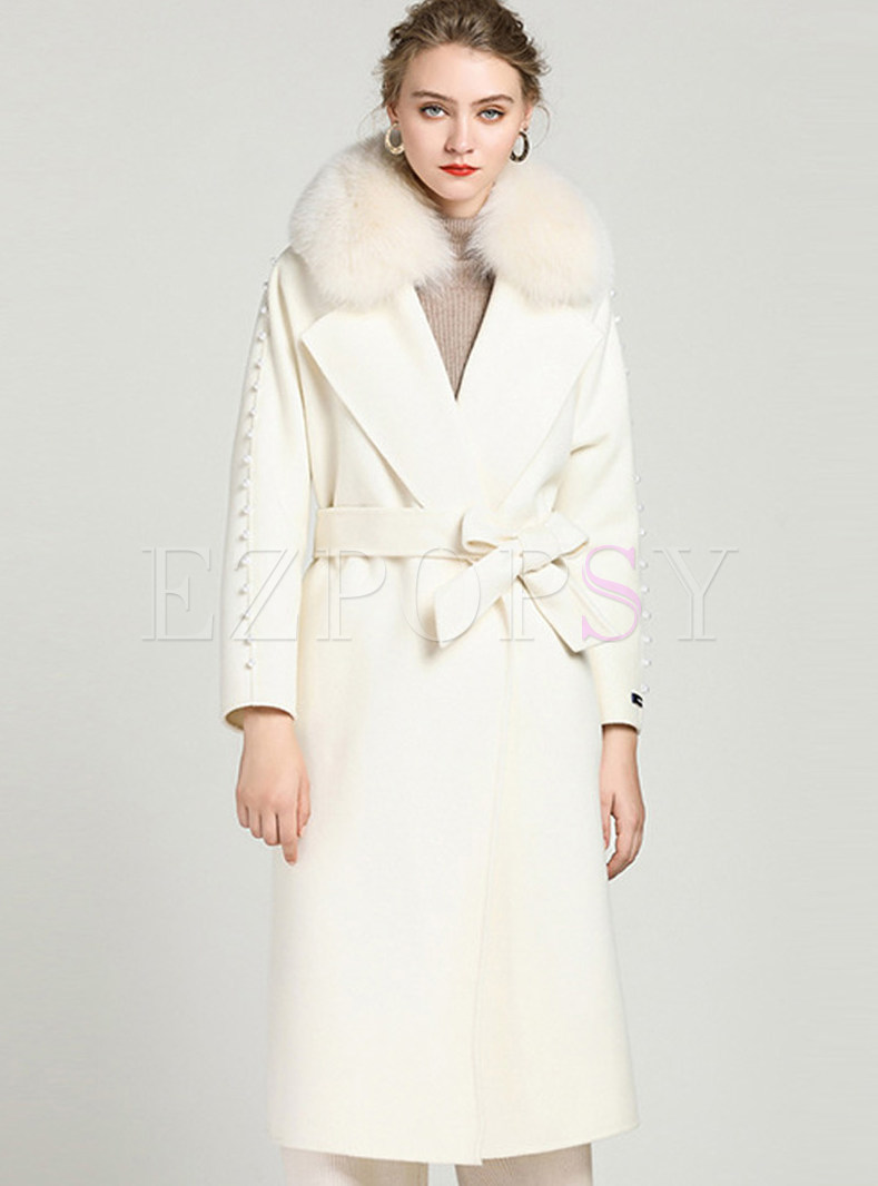 Brief White Cashmere Tied Woolen Coat With Fox Fur