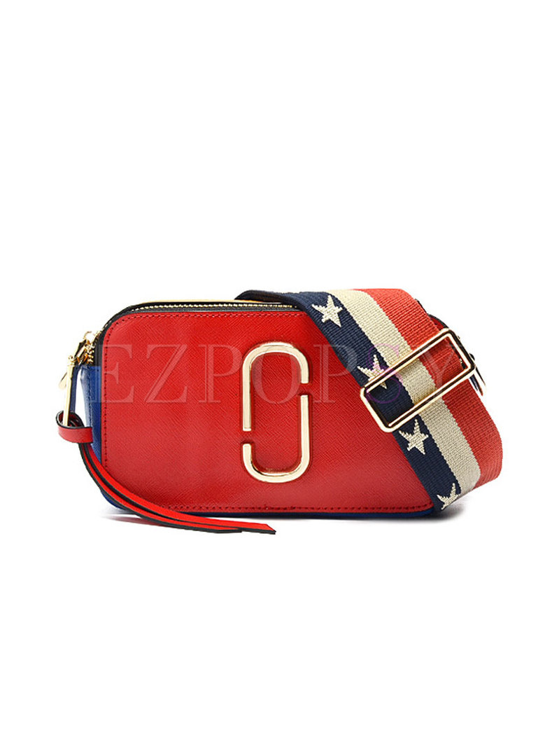 Chic Color-blocked Cameral Cowhide Crossbody Bag