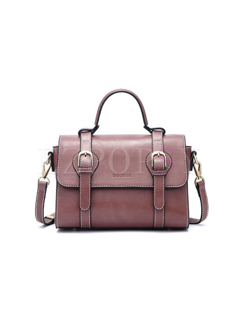 Fashion Pure Color Magnetic Lock Top Handle & Crossbody Bag