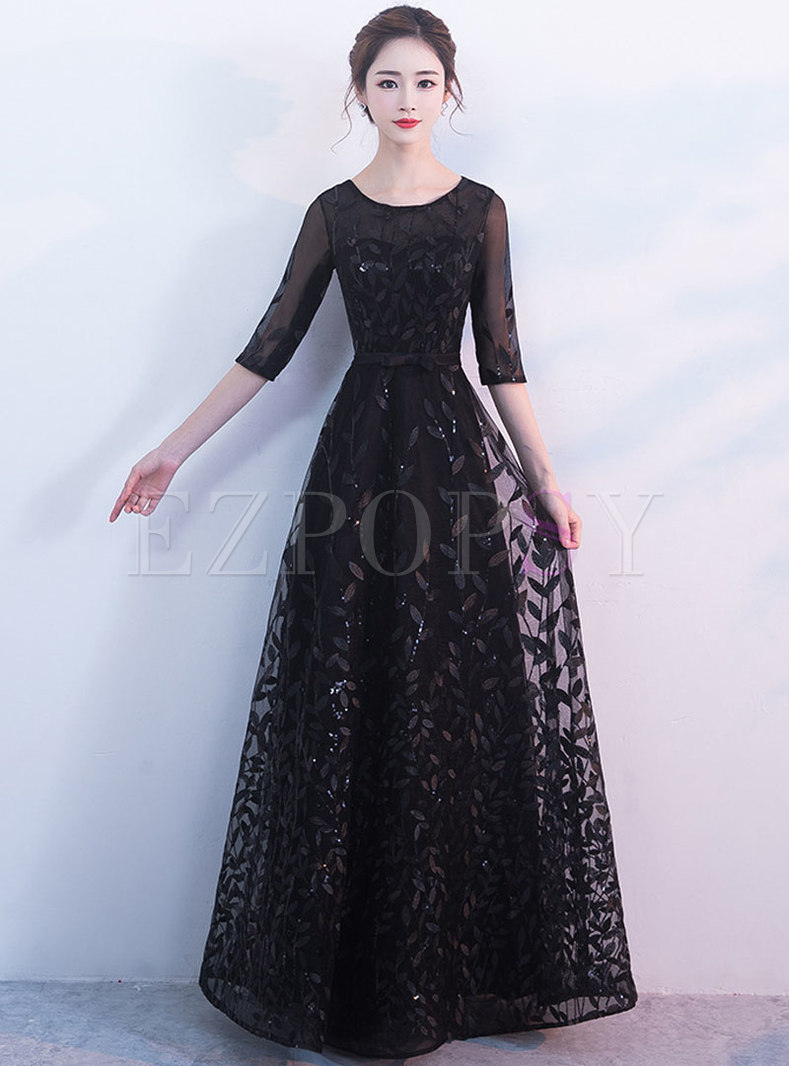 c6d9e9547 Evening Black Dress With Sleeves - AByte Computer Solutions