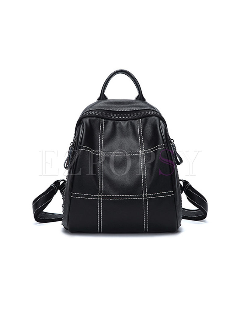 Brief Casual Rivet All Matched Backpack With Zipper Pocket