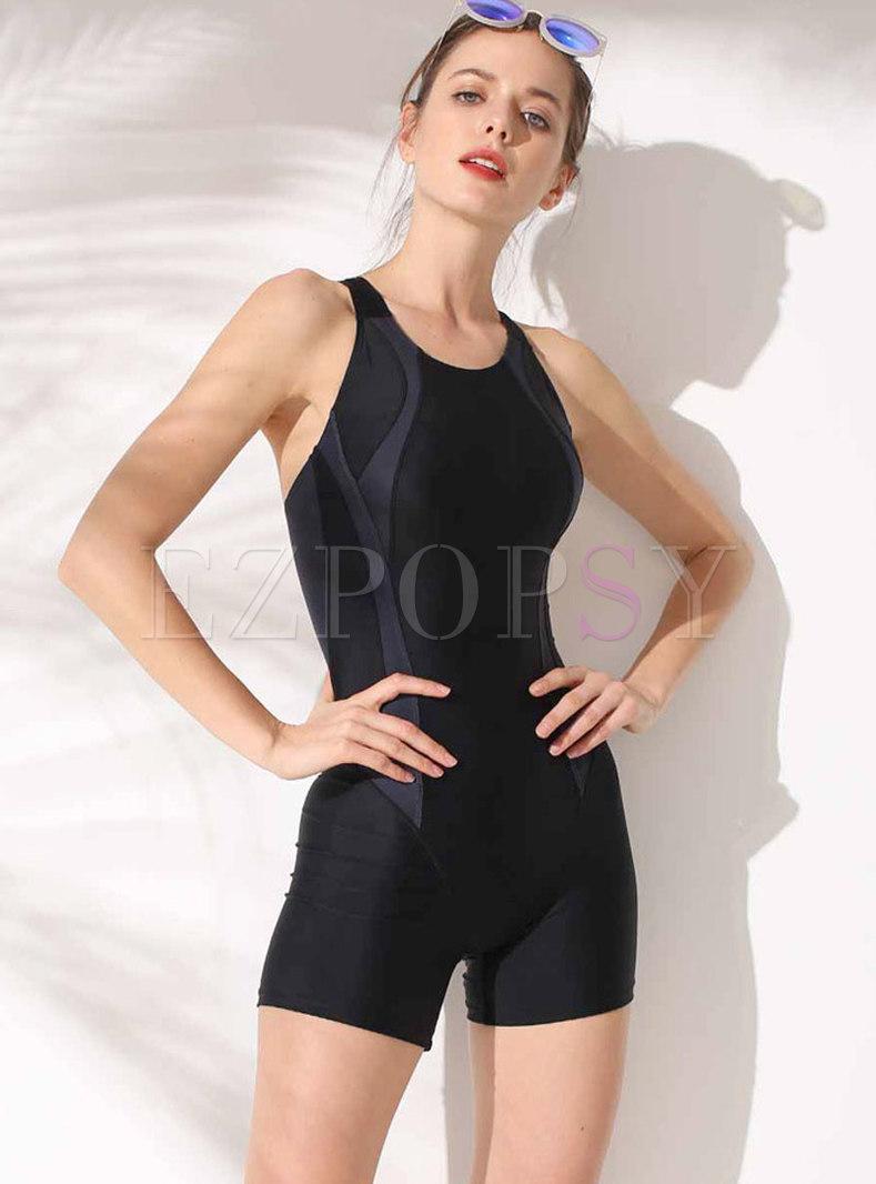 Color-blocked Scoop Neckline One Piece Swimwear