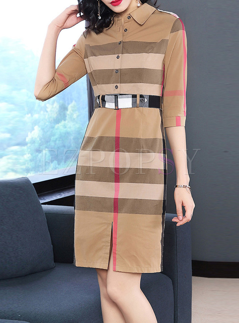 Hit Color Striped Bodycon Shirt Dress