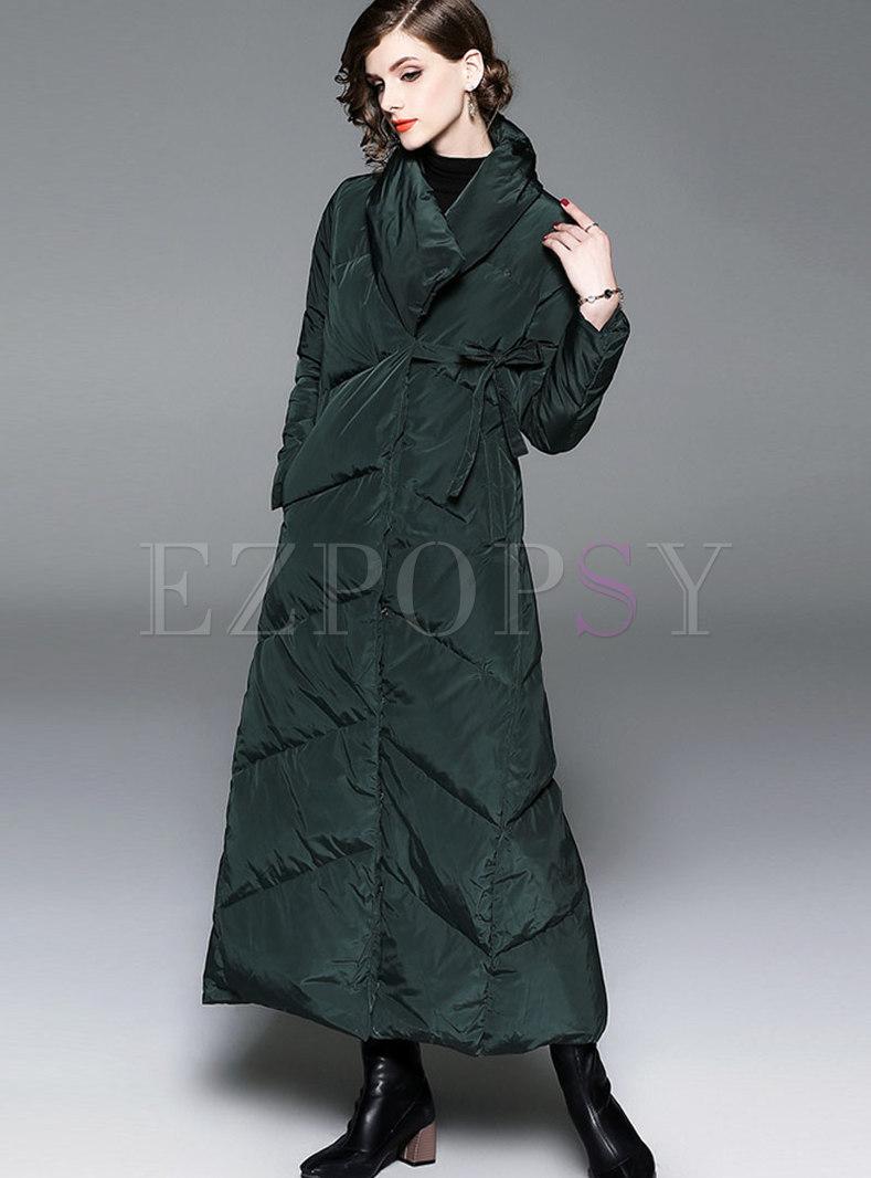 Green Turn-down Collar Thicken Slim Down Coat