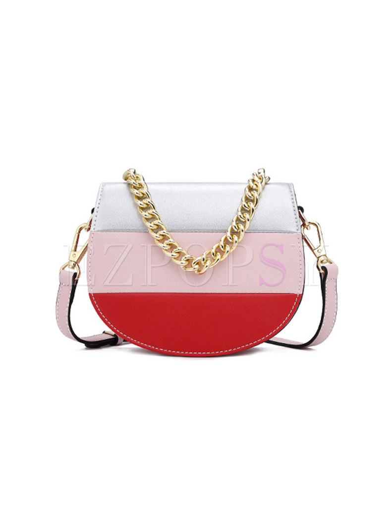 Stylish Color-blocked Chain Crossbody Bag