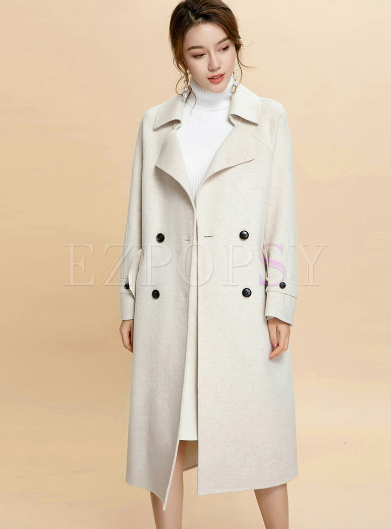 Notched Long Sleeve Tie-waist Cashmere Overcoat