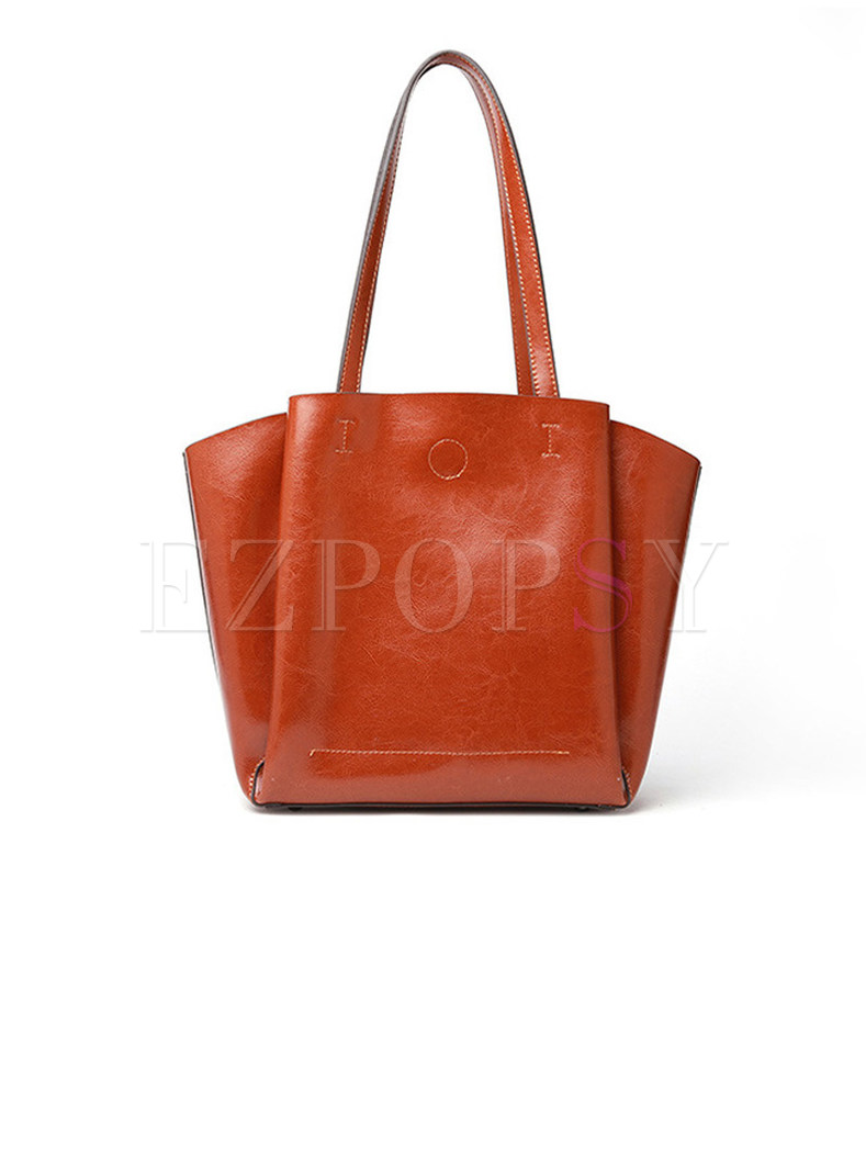 Fashion Leather Zippered Top Handle Big Tote