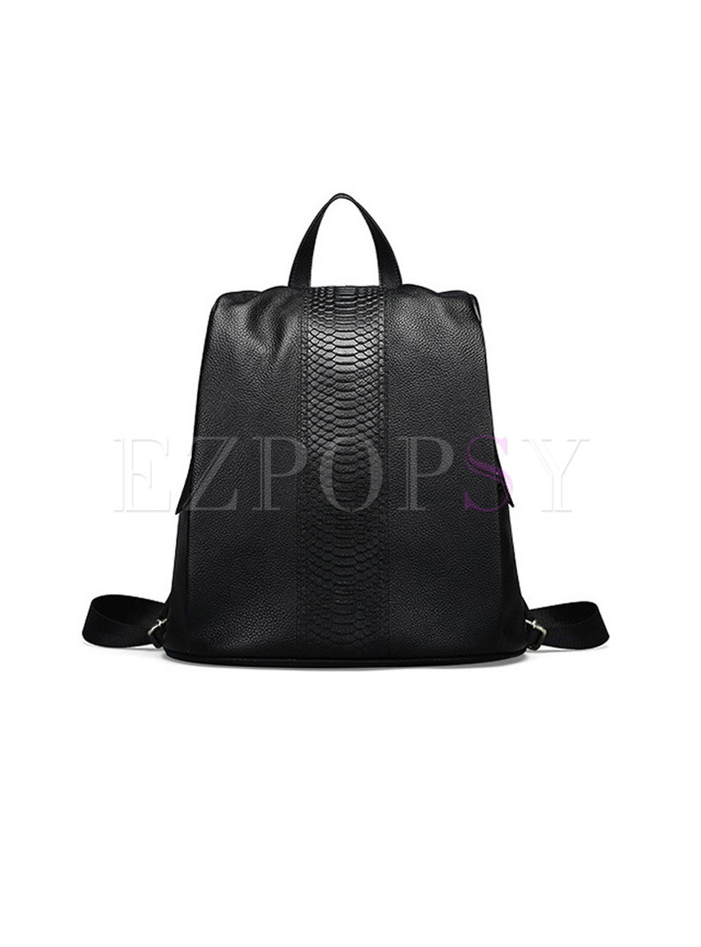 Casual Black Crocodile Pattern Zippered Backpack