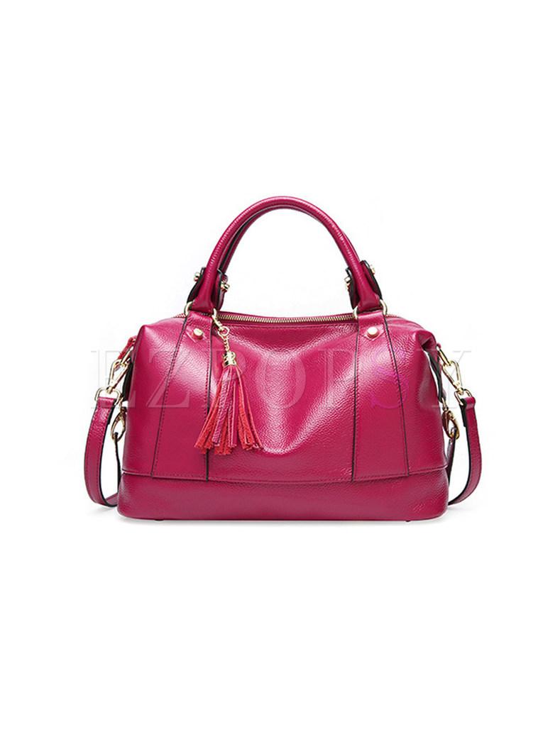 Stylish Solid Color Tassel Top Handle & Crossbody Bag