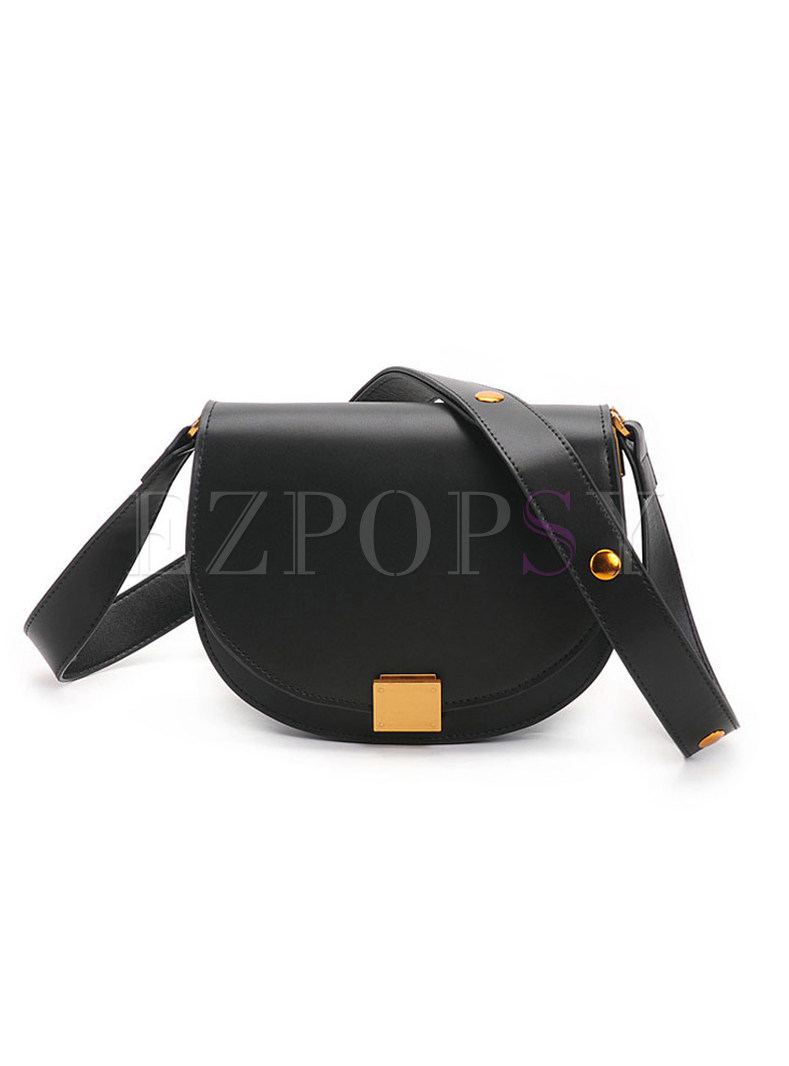 Fashion Cowhide Leather Lock Organ Crossbody Bag
