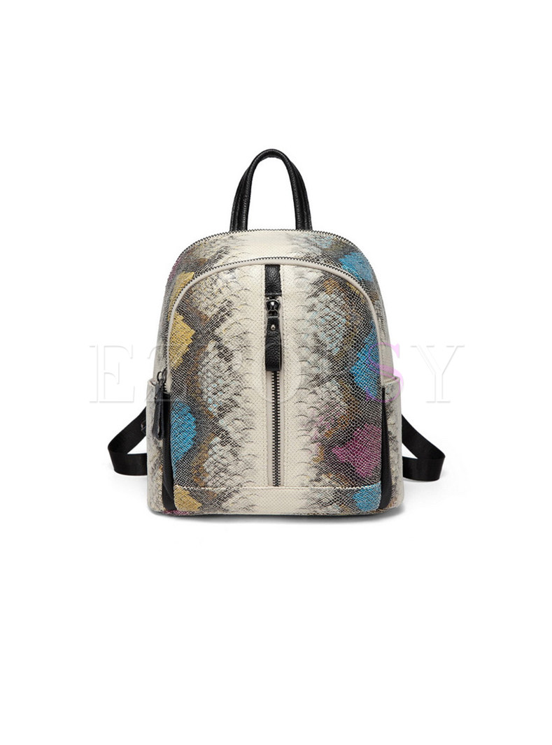 Color-blocked Cowhide Leather Zippered Backpack