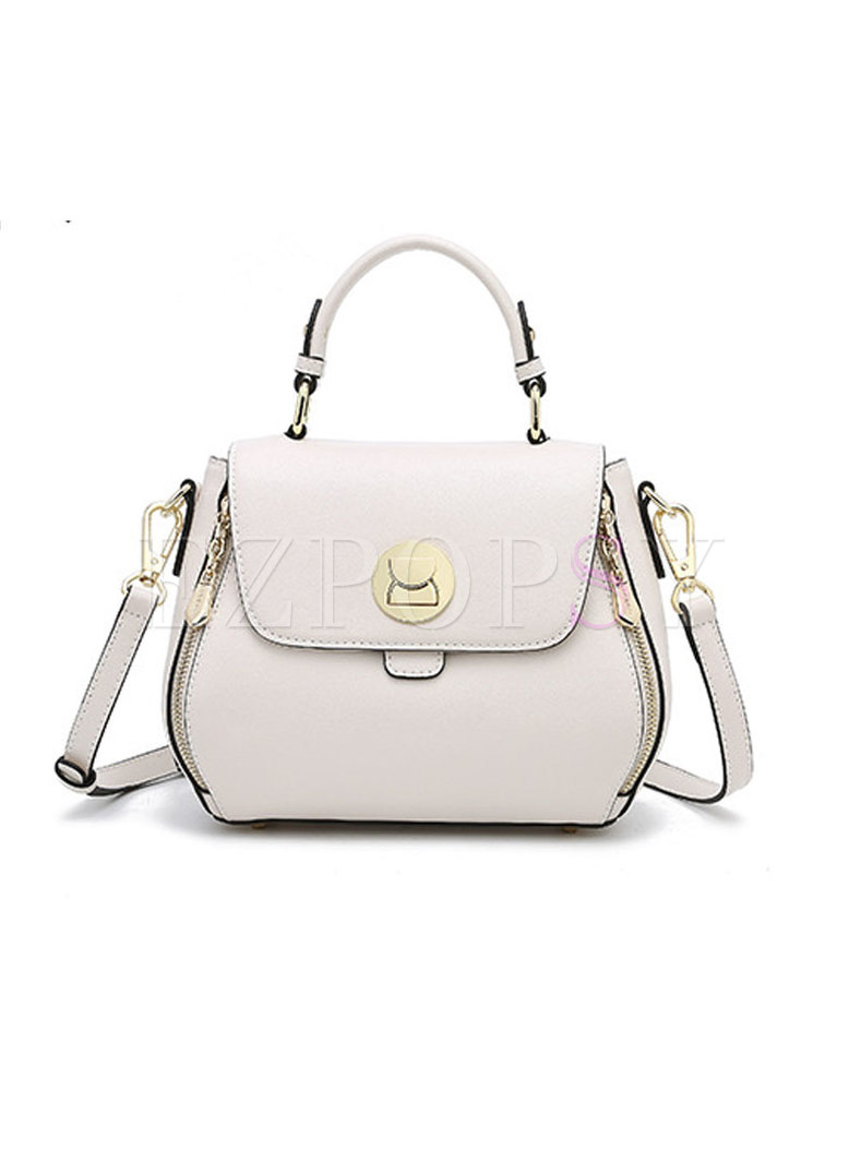 Fashion Solid Color Spin Clasp Lock Top Handle & Crossbody Bag