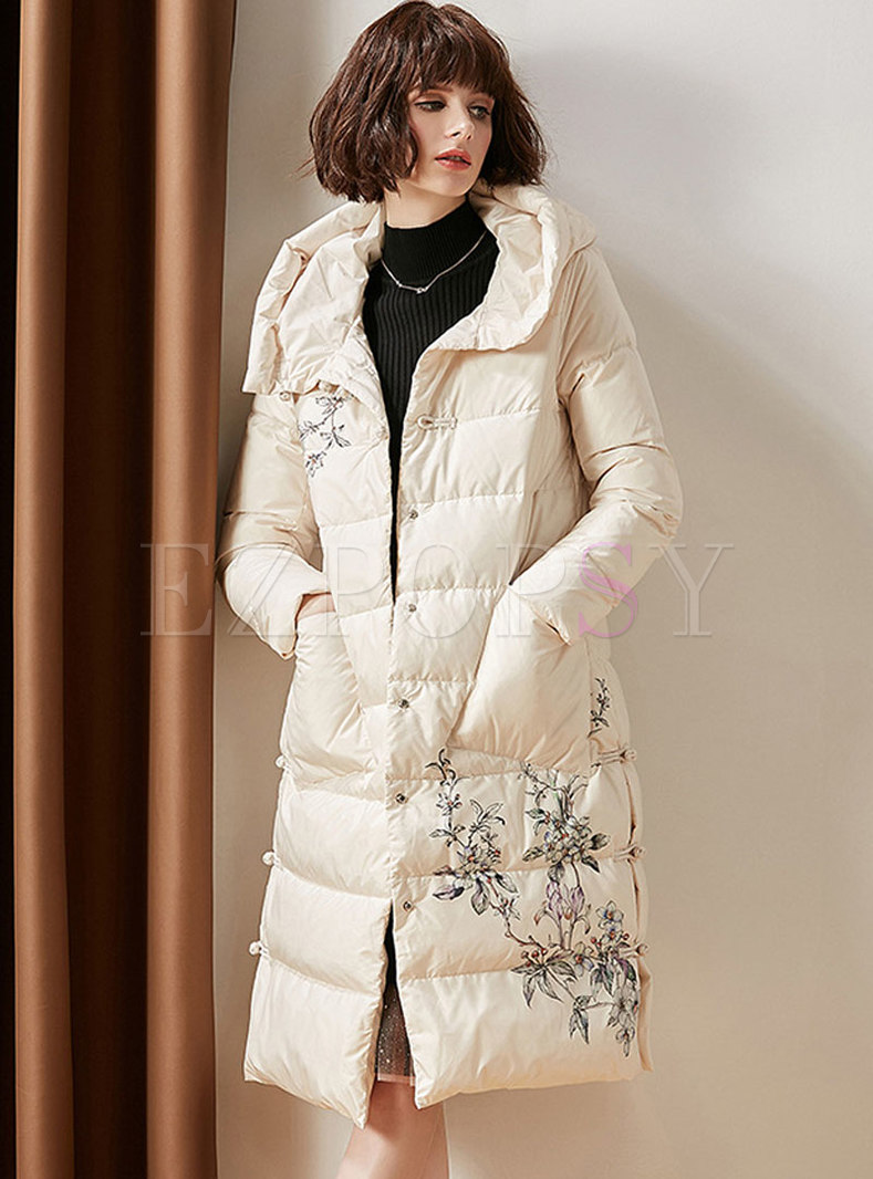 Print Hooded Single-breasted Straight Puffer Coat