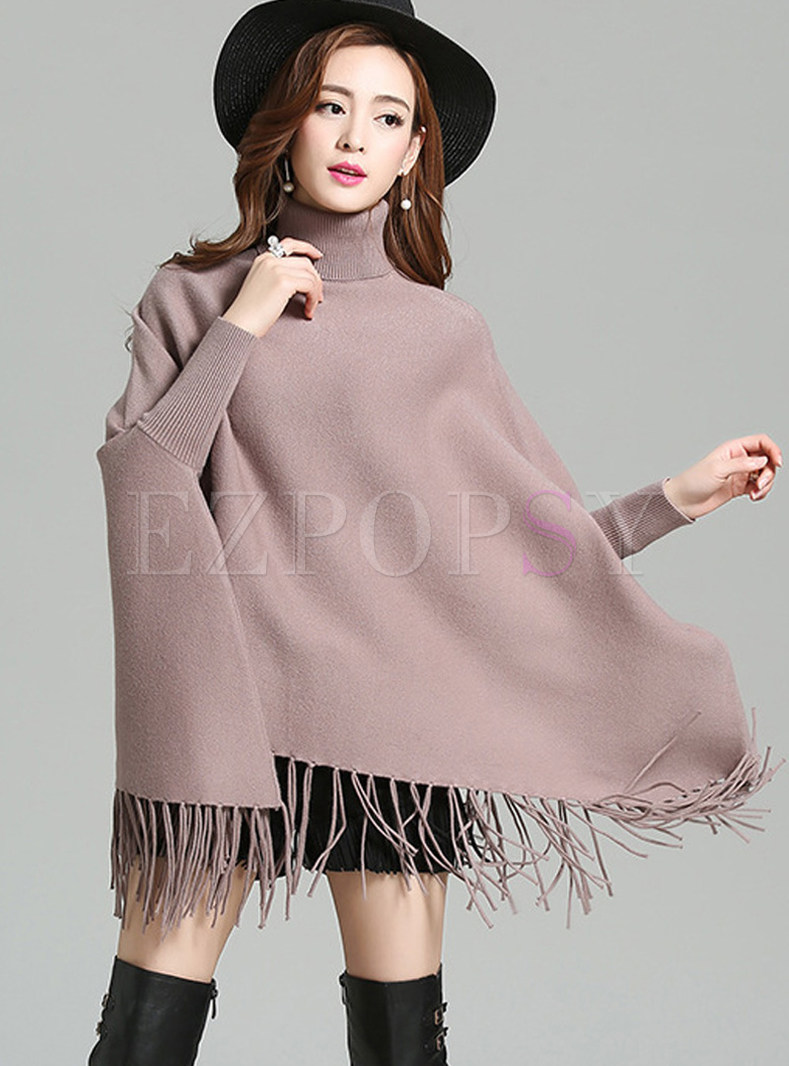 Trendy Bat Sleeve Cloak Tassel Loose Sweater