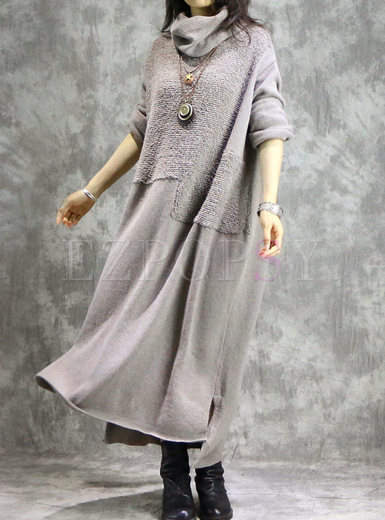 Autumn Turtle Neck Long Self-tie Plus Size Knitted Dress