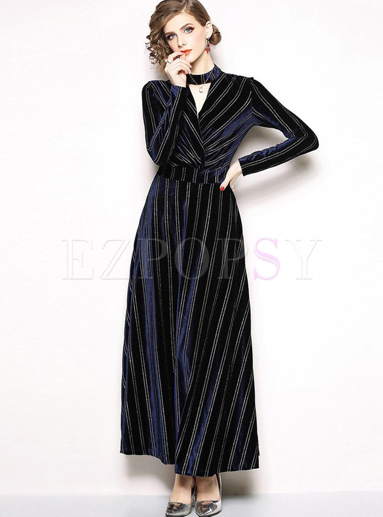 Fashion Striped V-neck Long Sleeve Slim Maxi Dress