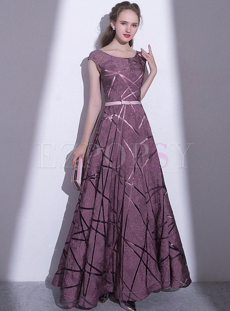 Elegant Print O-neck Sleeveless Hem Prom Dress