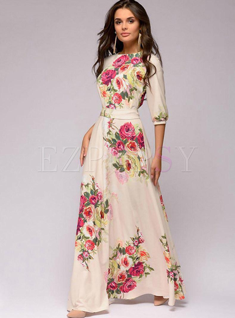 O-neck Lace Sleeve Casual Print Maxi Dress