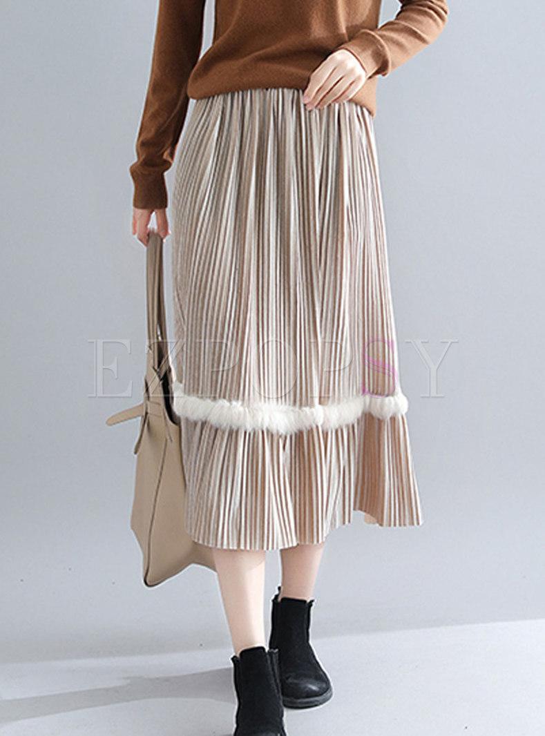 7b17b8772ce8ea Skirts   Skirts   Casual Khaki Plus Size High Waist Velvet Pleated Skirt