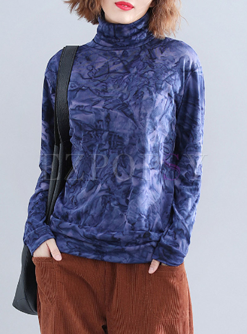 Fashion Blue Turtle Neck Velvet Long Sleeve T-Shirt