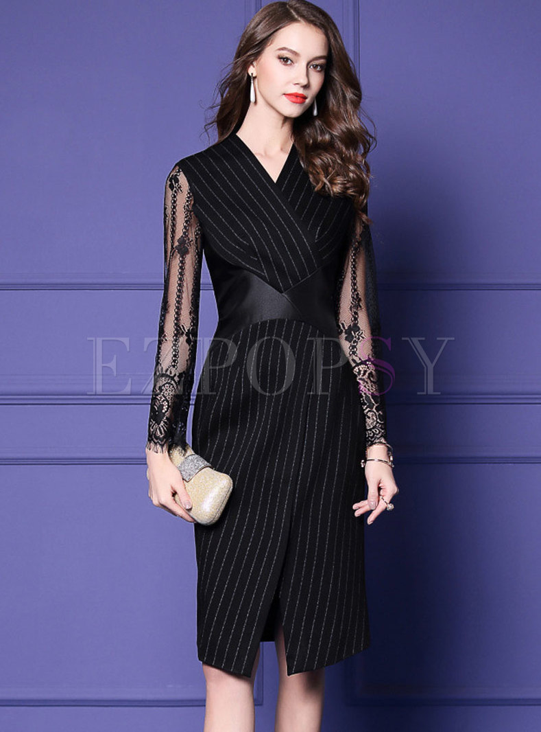 Stylish Black V-neck Striped Lace Paneled Split Dress