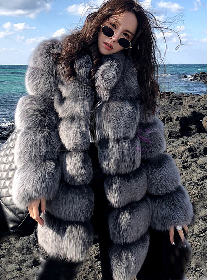 Fashion Solid Color Loose Splicing Hooded Fur Coat