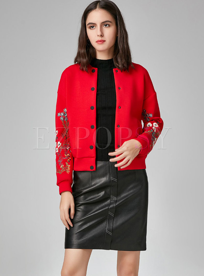Embroidered Stand Collar Single-breasted Short Coat