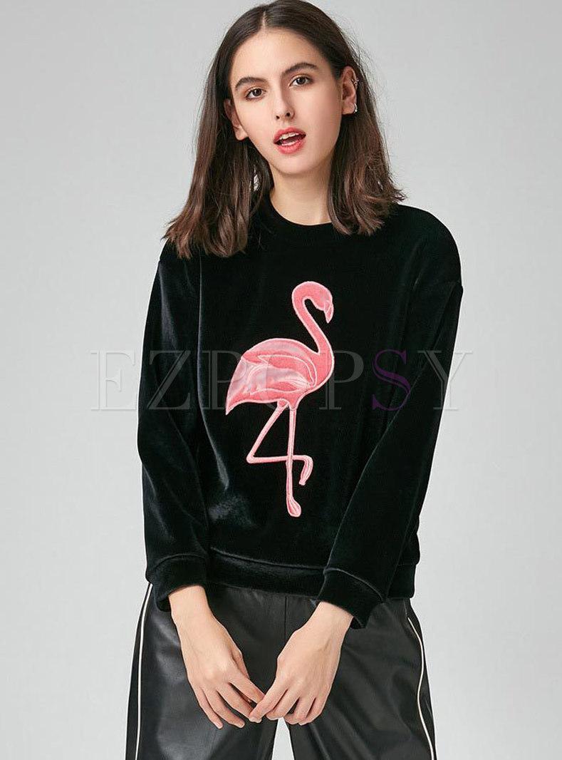 Casual Velvet Animal Pattern O-neck Thick Sweatshirt