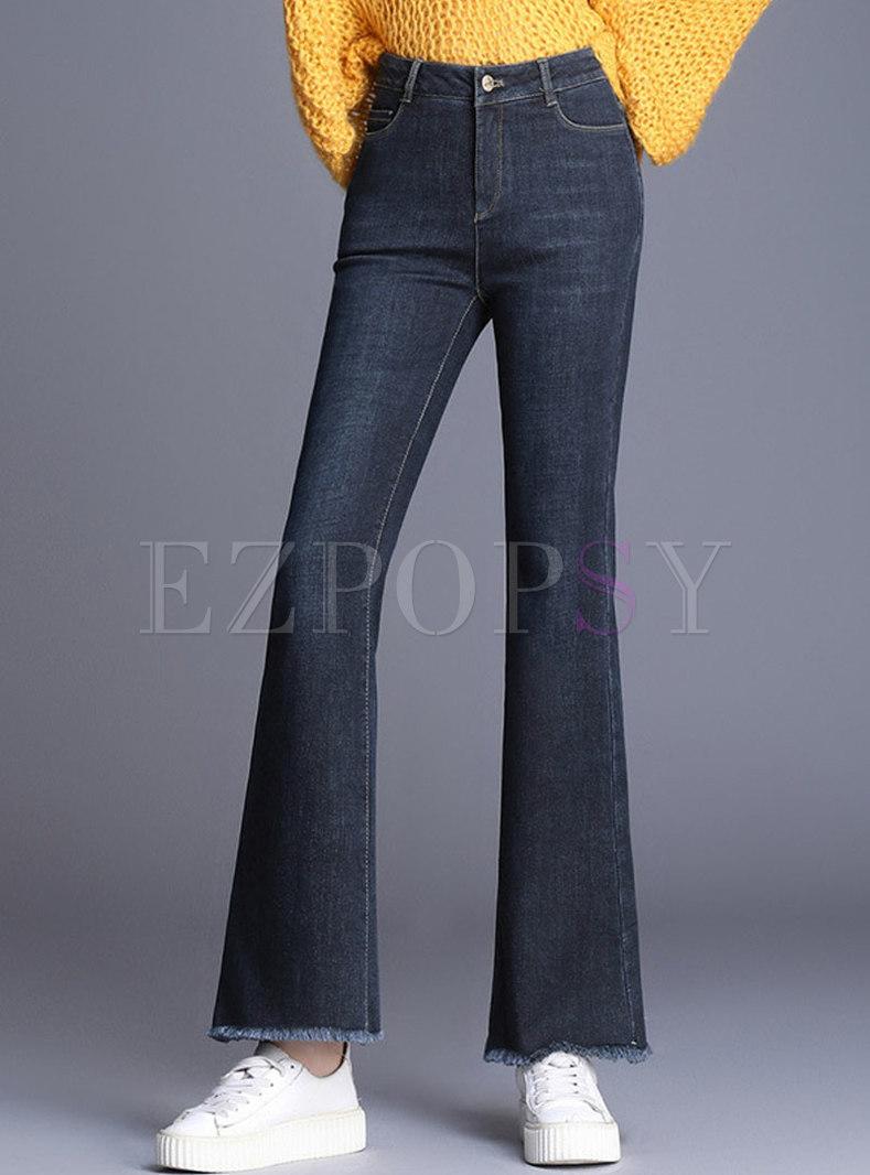 Brief Blue Denim Rough Selevedge Flare Pants
