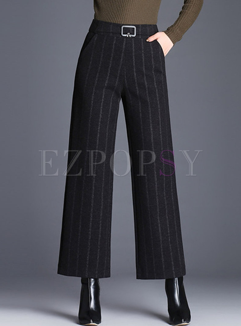 Stylish Striped High Waist Woolen Wide Leg Pants