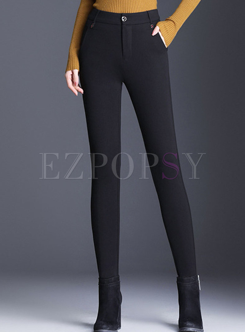 Winter Black High Waist Thick Pencil Pants