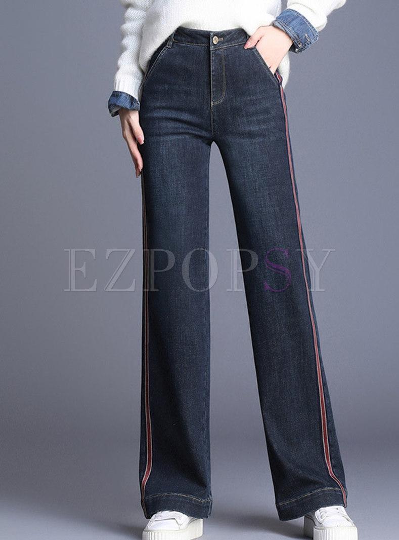 Striped Splicing Denim High Waist Elastic Straight Pants