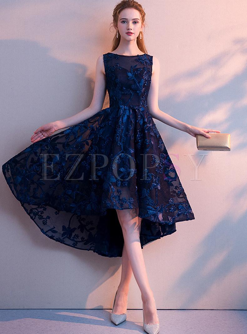 Elegant Sleeveless Solid Color Asymmetric Banquet Dress