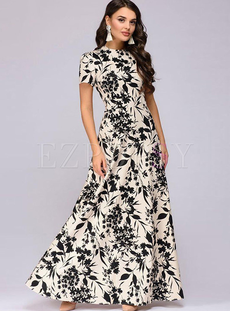 Elegant O-neck Short Sleeve Print Maxi Dress
