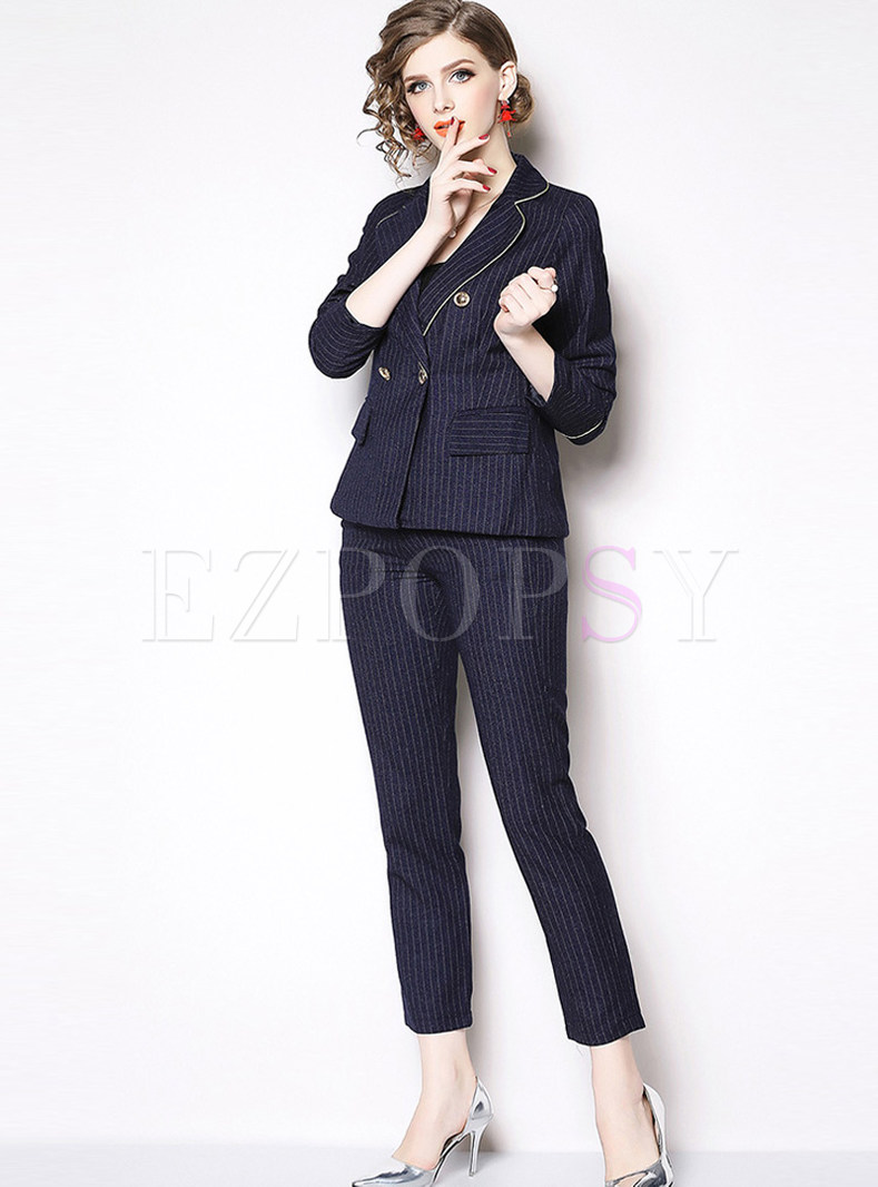 Trendy Notched Double-breasted Striped Suit