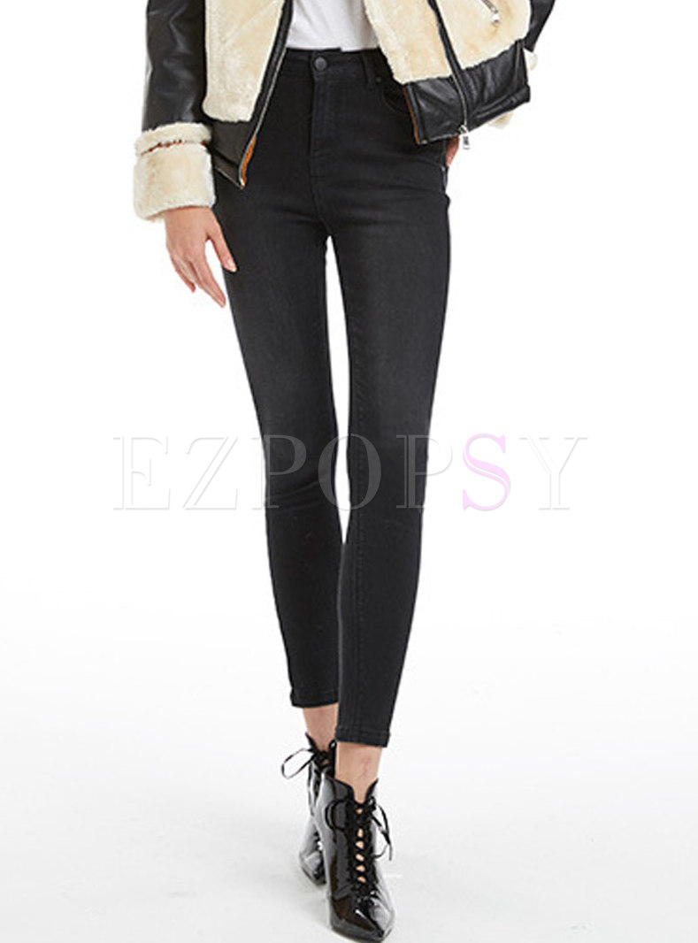 Black High Waist Elastic Denim Winter Pencil Pants