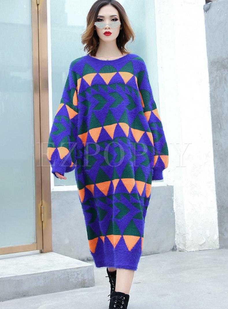 e6373e8dc6b9 Dresses   Knitted Dresses   Casual Blue Plus Size Long Sleeve Shift Sweater  Dress