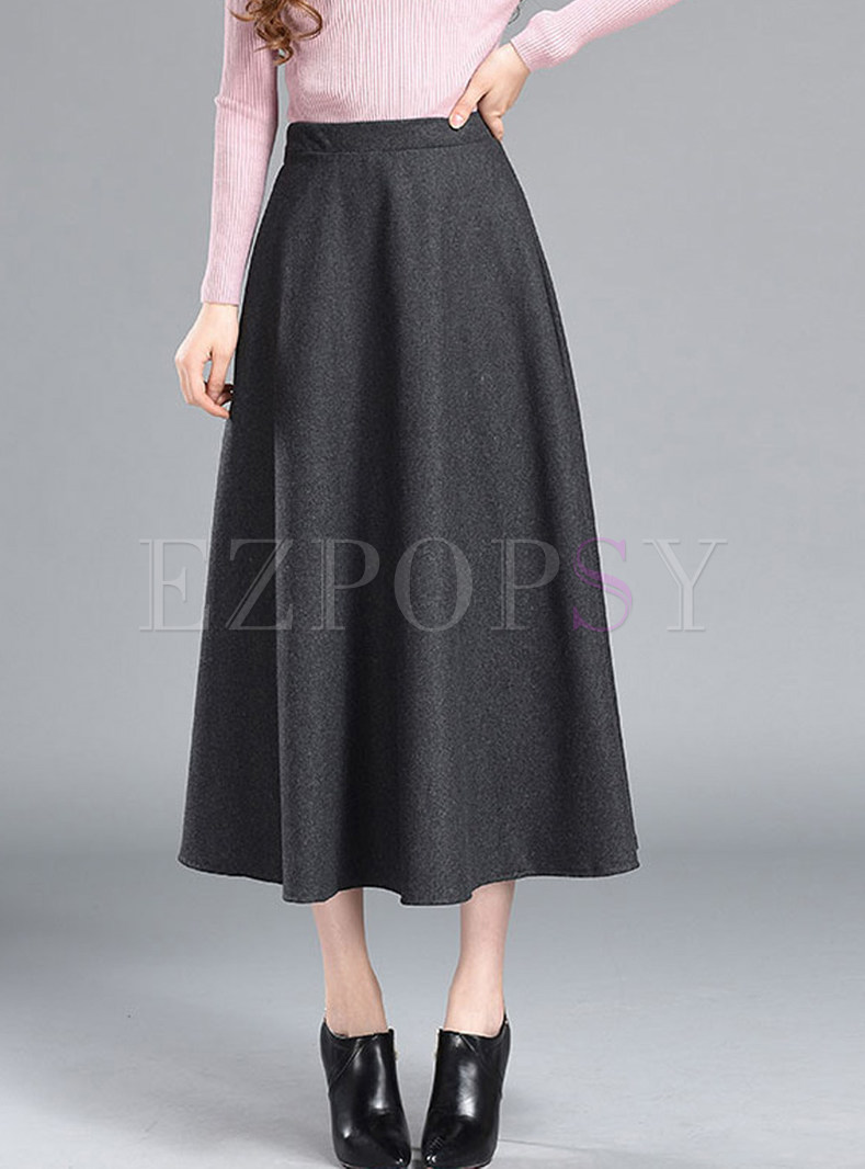 Brief Solid Color High Waist Plus Size A Line Skirt