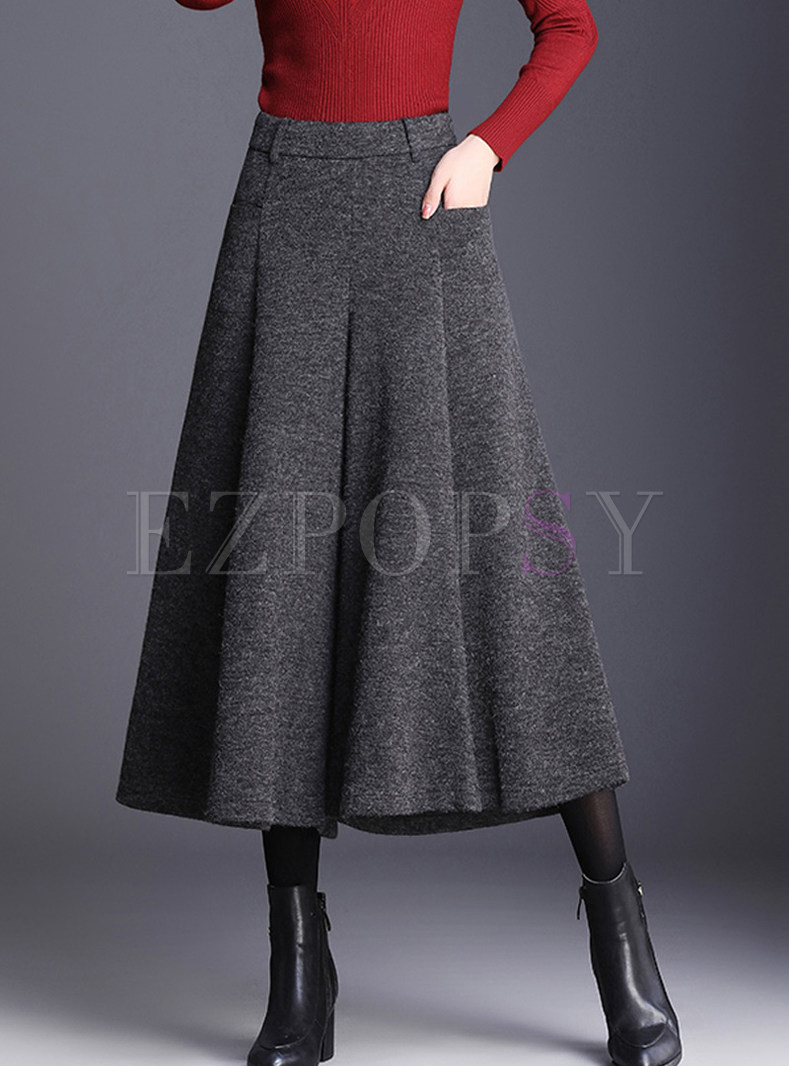 Brief Solid Color Woolen Wide Leg Flare Pants