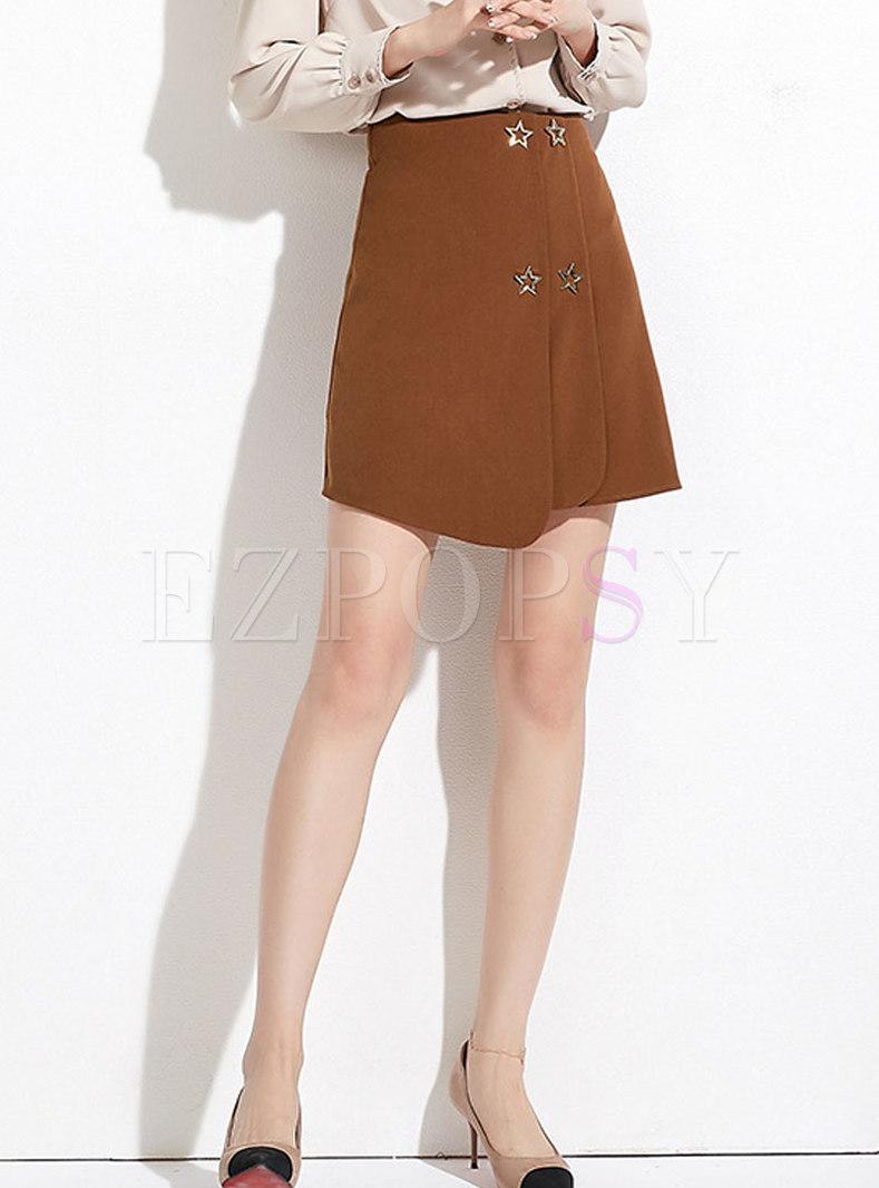 Casual Caramel High Waist Star Decoration Mini Skirt