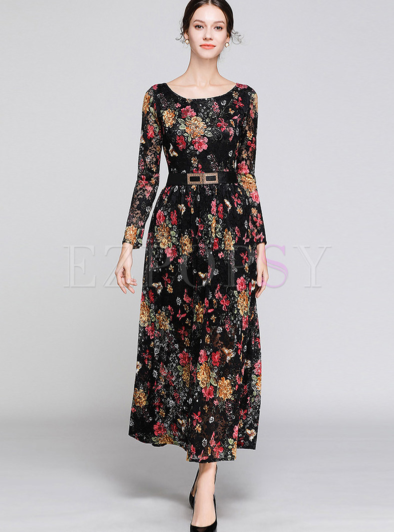 Vintage O-neck Long Sleeve Print Lace Maxi Dress