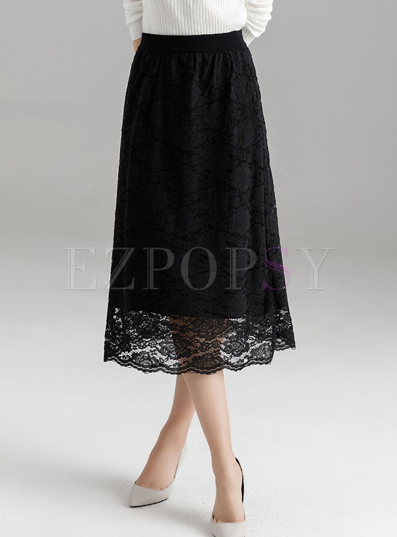 Black High Waist Lace Stitching Midi Skirt