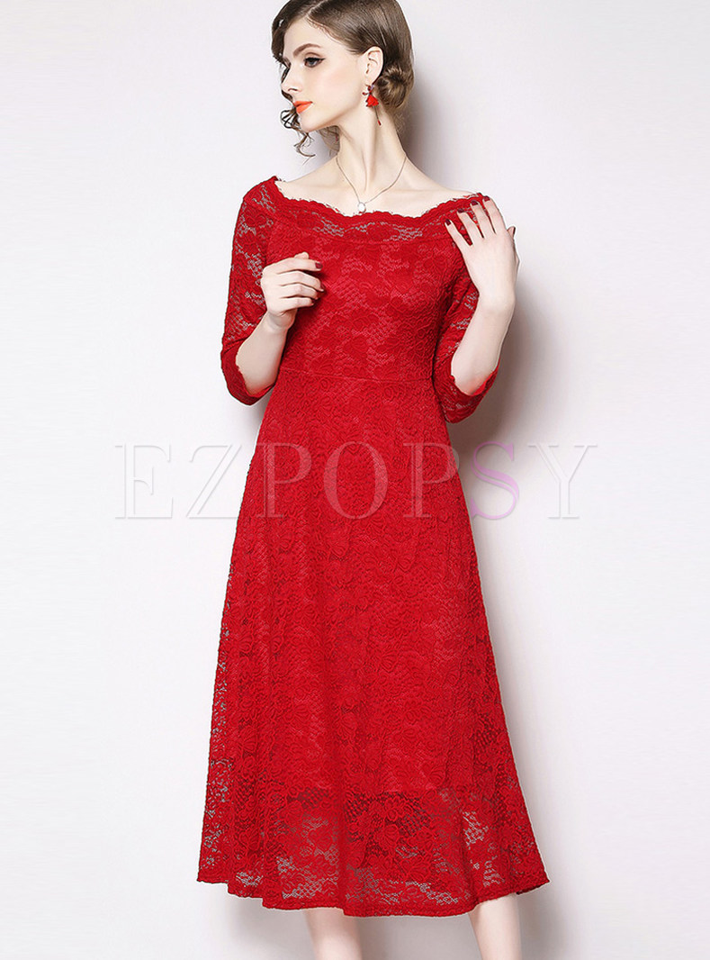 Elegant Three Quarters Sleeve Lace Waist Dress