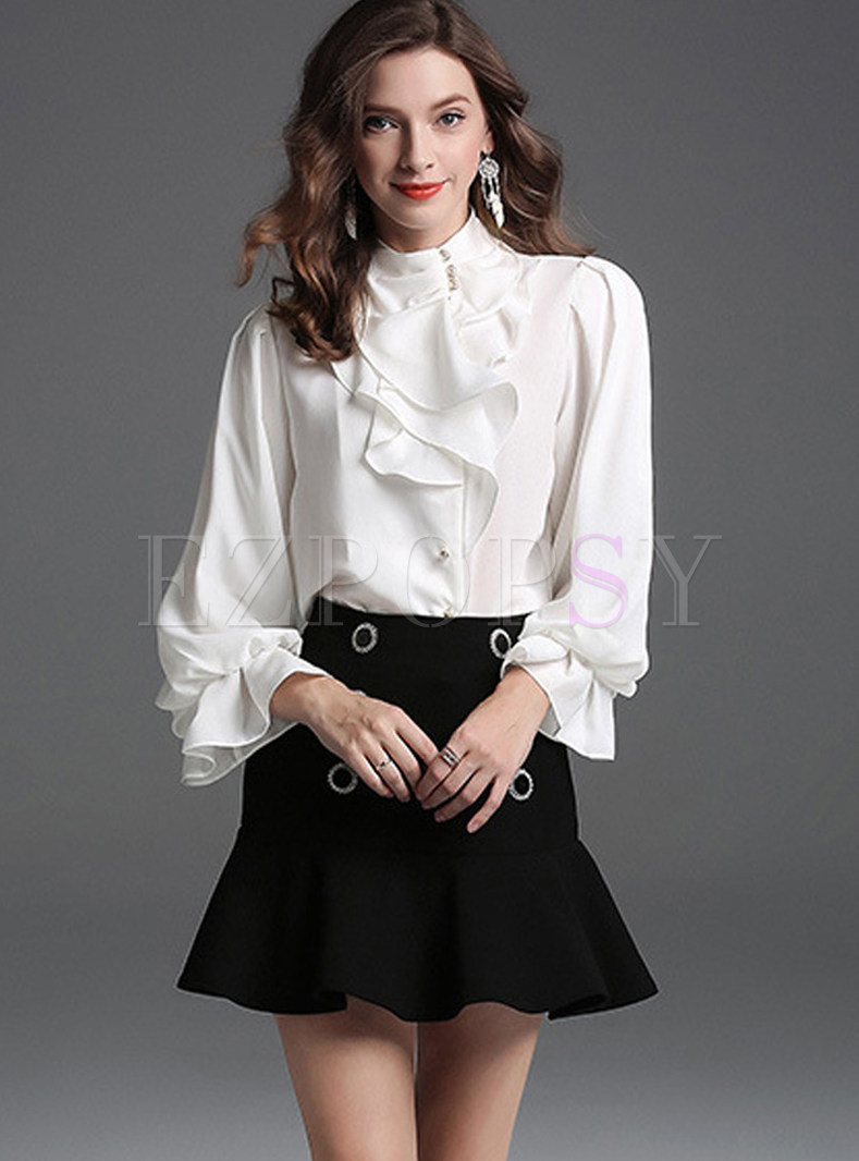 Solid Color Standing Collar Asymmetric Falbala Blouse