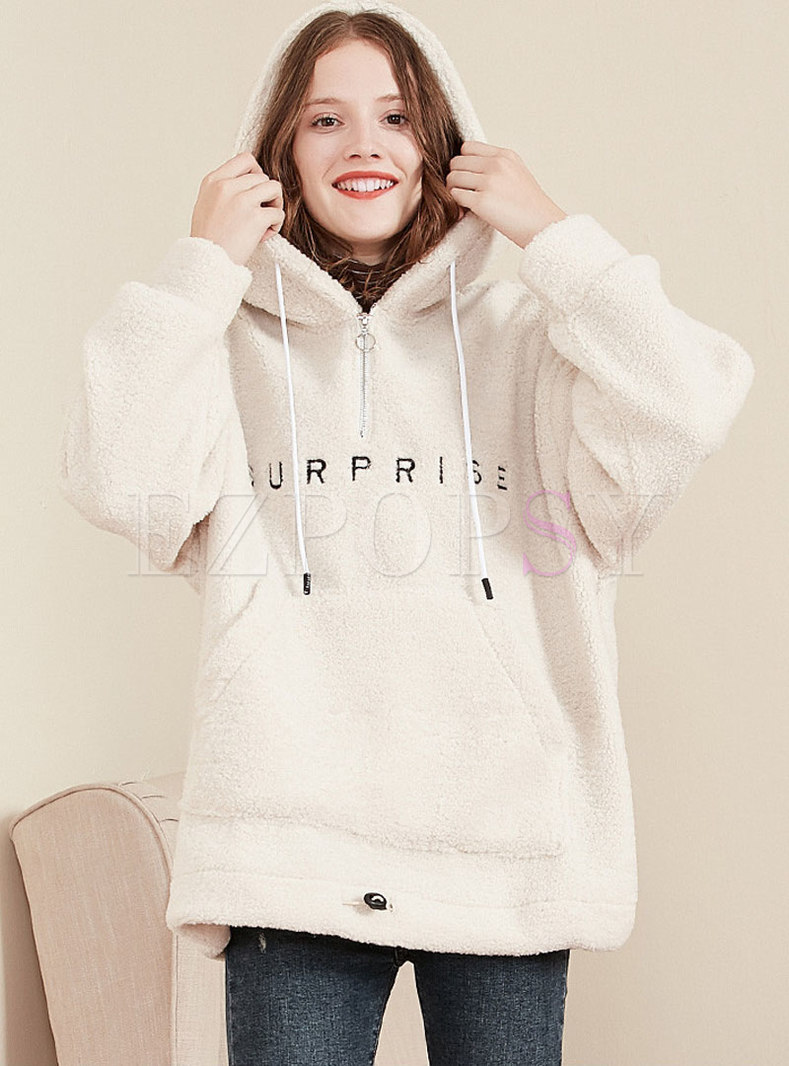 Stylish Letter Print Hooded Thick Sweatshirt