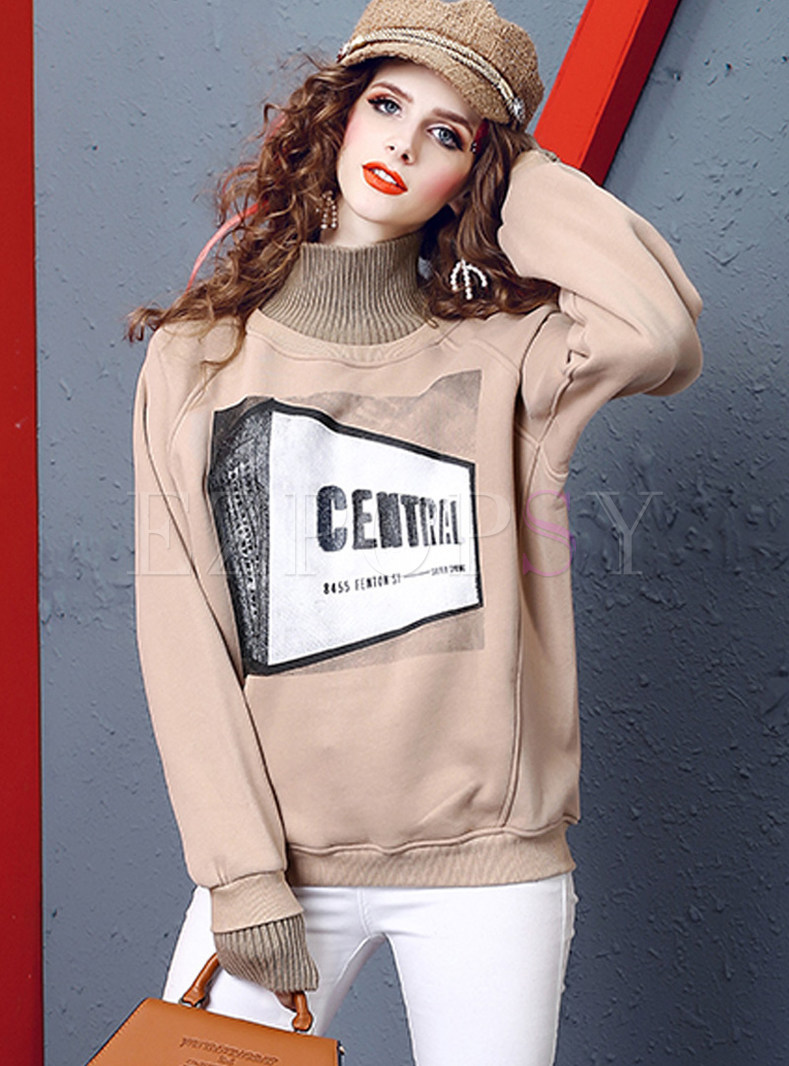 Casual Color-blocked Turtle Neck Thermal Sweatshirt