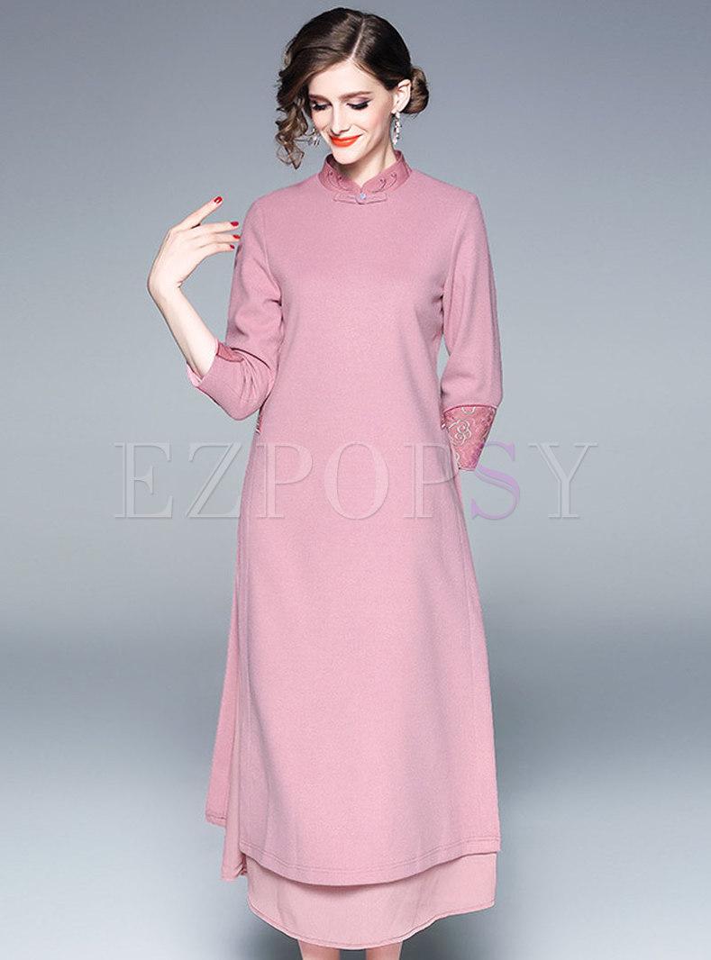 Winter Woolen Splicing Mandarin Collar Embroidered Maxi Dress