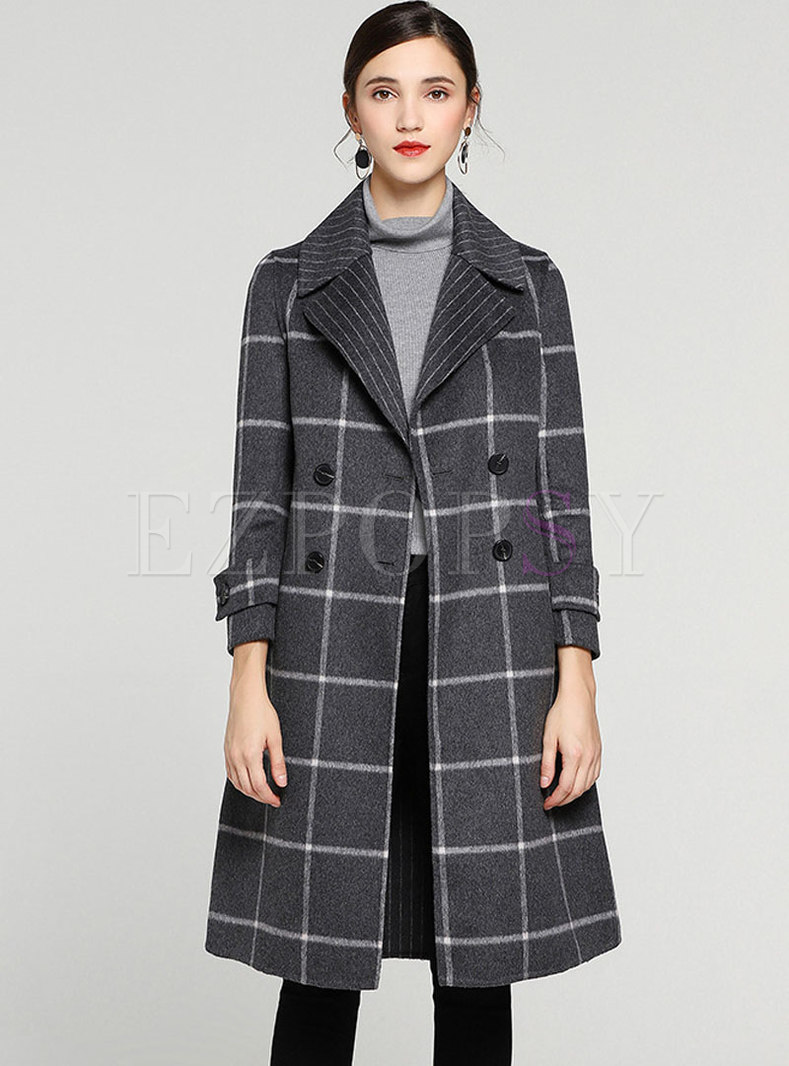 Elegant GridTurn Down Collar Double-breasted Slim Woolen Coat