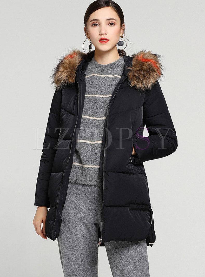 59fb8947f Brief Black Fur Collar Side-slit Down Coat